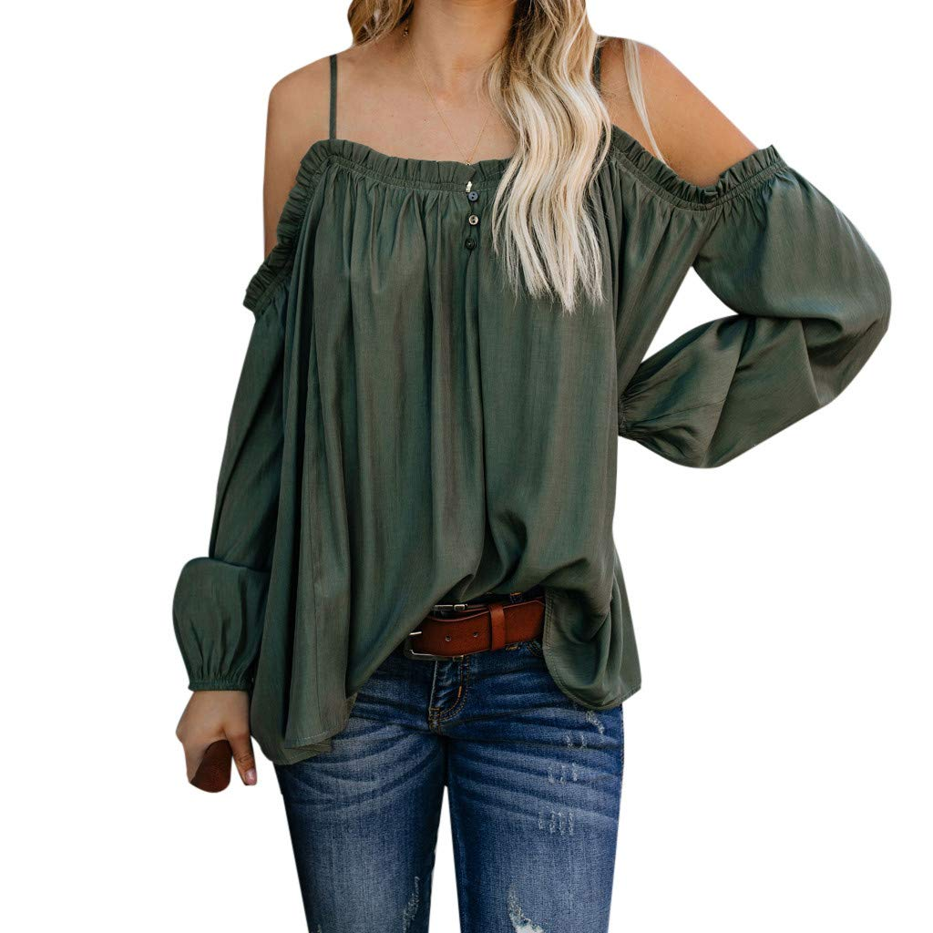 PASATO Womens S-XL Casual Off Shoulder Solid Long Sleeve Ladies Cold Shoulder Tunic Tops Loose Blouse Shirts(Army Green,S=US:XS)