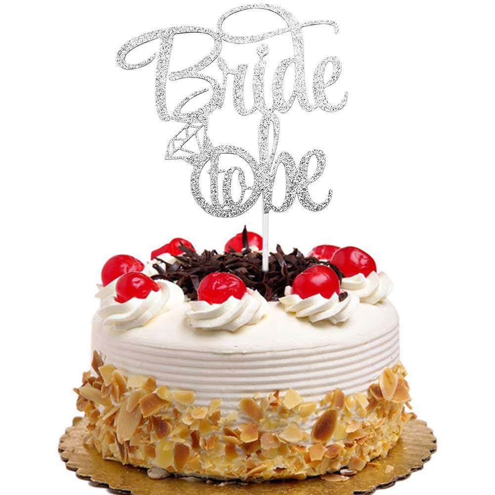 Amazon Bride To Be With Diamond Ring Cake Topper For Bridal Shower Engagement Bachelorette Wedding Party Decorations Silver Glitter Toys Games: Cake Topper Wedding Silver Diamond Ring At Websimilar.org