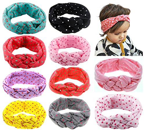 (Baby Headbands Turban Knotted, Girl's Hairbands for Newborn,Toddler and Childrens (10Pack-CL3))