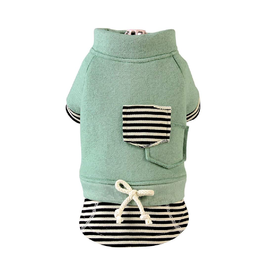 Green XS Green XS LSLMCS Pet Supplies Pet Warm Coat Spring and Autumn Models Plus Velvet Clothes Shirt Cotton Puppy Pet Dress Casual Bust Skirt,Green Pink(XS-XXL) (color   Green, Size   XS)