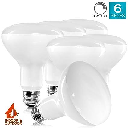6 Pack BR30 LED Bulb, Luxrite, 65W Equivalent, 6500K Daylight White,