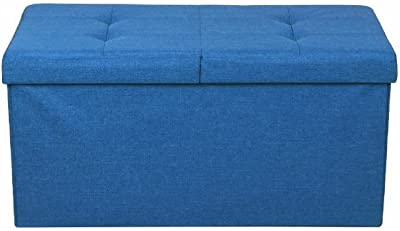 Modern Tufted Ottoman Stool, Royal Blue Color, Easy Assembly, Foldable, Easy Transportation And Storage, Soft And Comfortable, 2-Sided Access Lid, Sturdy Construction & E-Book Home Decor