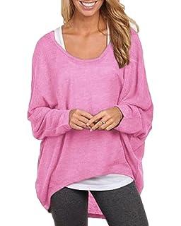 Mujeres Camiseta con Mangas Largas de Murciélago Cuello Redondo Camisa Blusa Suelto Jumper Pullover Sudadera Sweater