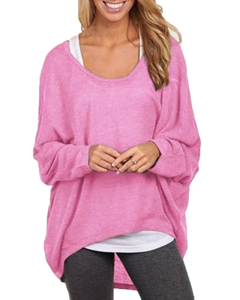 Mujeres Camiseta con Mangas Largas de Murciélago Cuello Redondo Camisa Blusa Suelto Jumper Pullover Sudadera Sweater: Amazon.es: Deportes y aire libre