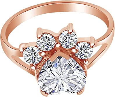 Wishrocks Round Cut White Cubic Zirconia Open Ring in 14K Rose Gold Over Sterling Silver