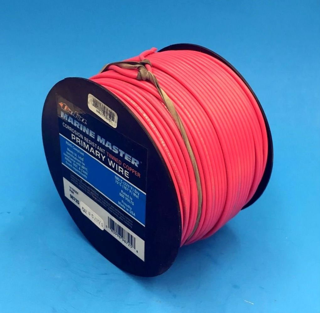 DEKA 14AWG PINK Marine Tinned Copper Boat Stranded Wire 100 Feet Made in USA