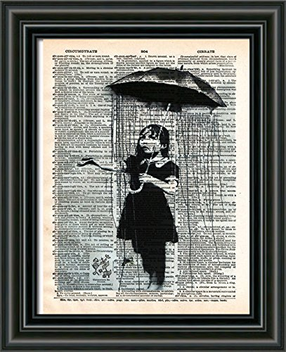 Umbrella girl, Banksy NOLA art print, Vintage dictionary wall art