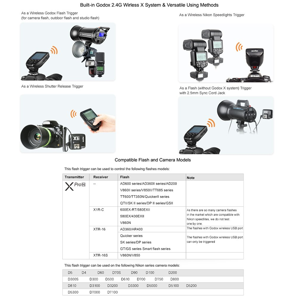 Godox Xpro-N 2.4G TTL Wireless Flash Trigger Transmitter with Godox X1R-N Receiver for Nikon Cameras 1//8000s HSS High Speed Sync