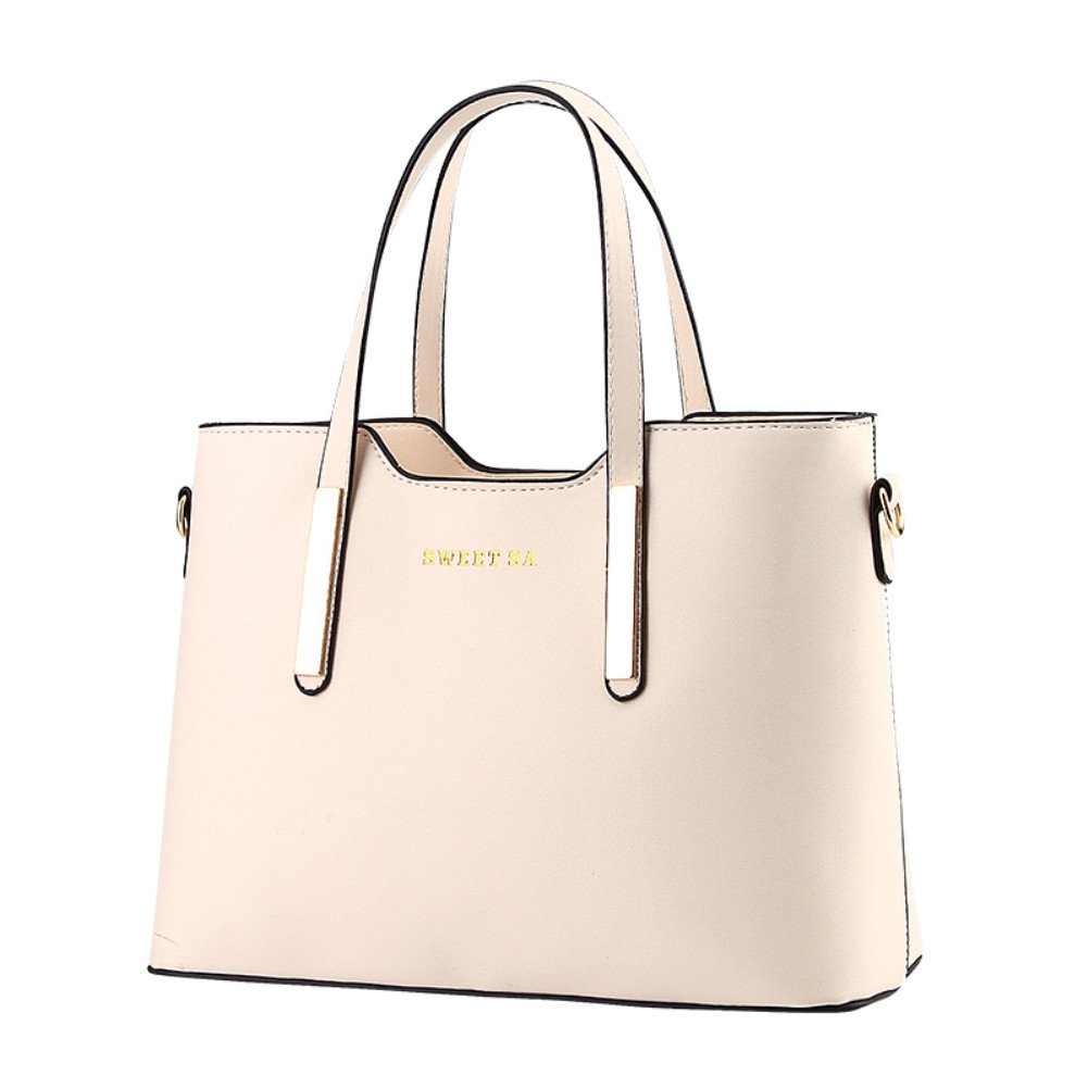 a965f029caed Amazon.com: Women's PU Leather Shoulder Bags Top-Handle Handbag Tote Bag  Simple Purse Fashion Cross Body Bag,Beigh White SILI: Shoes