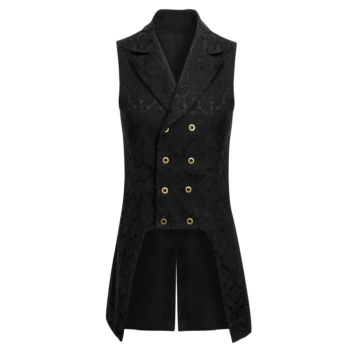 Jila Adult Mens Double Breasted Gothic Steampunk Costume Tailcoat Vest Victorian VTG Brocade Waistcoat (2X-Large, Black)