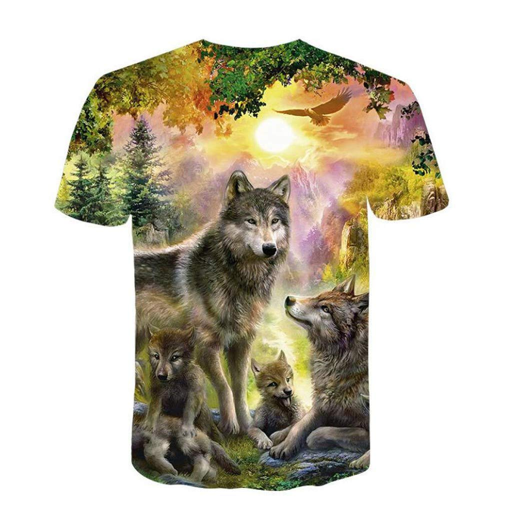 POHOK Tops for Men Summer Mens 3D Animal Printed Short-Sleeve T-Shirt Top Blouse