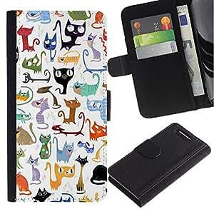 Abstract Cat Pattern White Kittens - la tarjeta de Crédito Slots PU Funda de cuero Monedero caso cubierta de piel Sony Xperia Z3 Compact