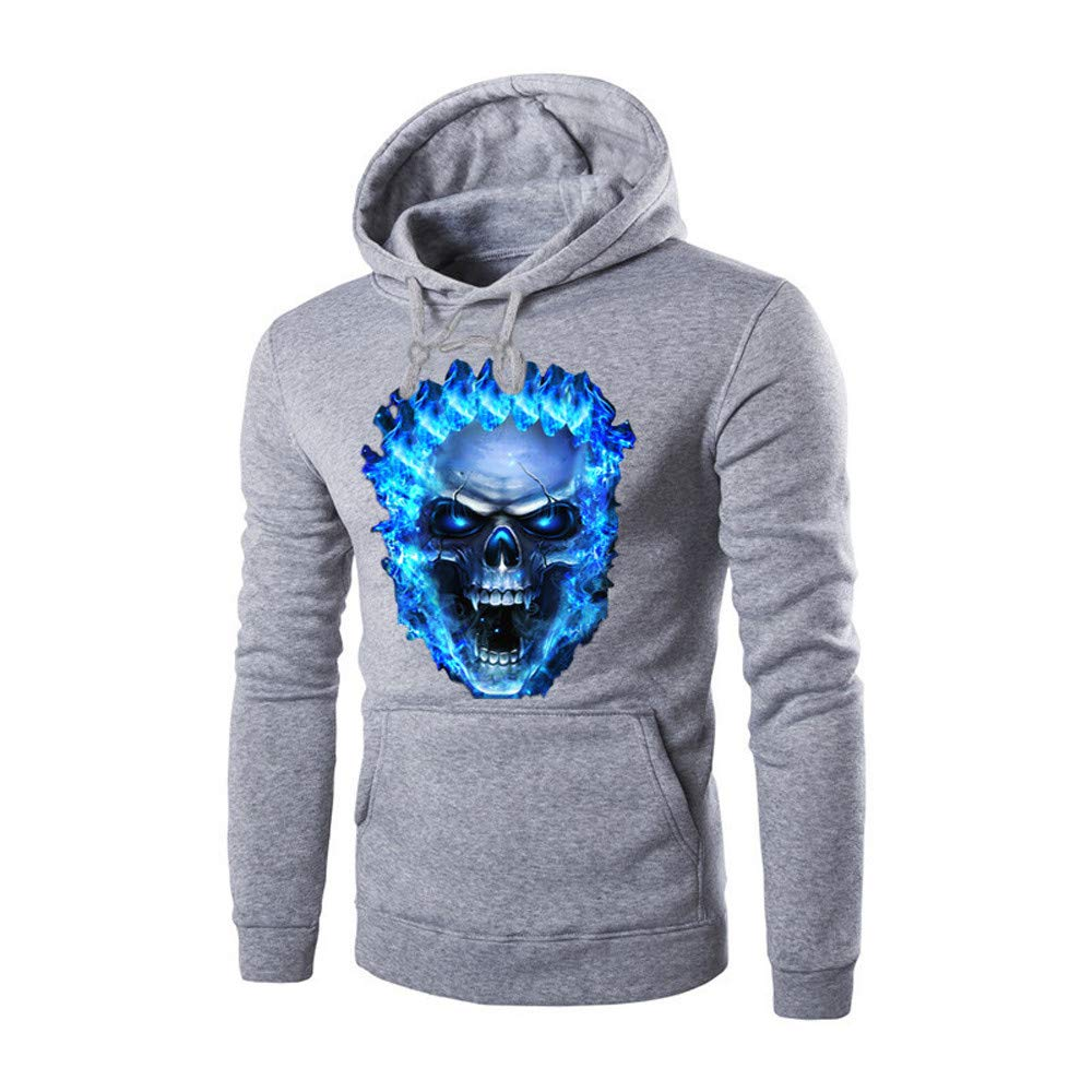 Hoodies for Men, Corriee Mens Casual Solid Skull Print Pullover Coat Autumn Winter Long Sleeve Hooded Sweatshirts