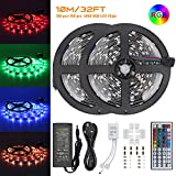 300LEDs RGB Led Strip Kit, Jirvyuk 10M/32.8ft Flexible SMD 5050 Led Strip Lights, DC 12V LED Rope Lights with 44Key Remote Controller and Power Adapter, UK Plug Include