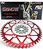 Flo Motorsports Gold Chain & Sprocket Combo Kit HONDA CRF250 CR125 CRF250R FRONT SPROCKET 14T / REAR SPROCKET 48, 49, 50, 51, 53 TOOTH (51T, Red)
