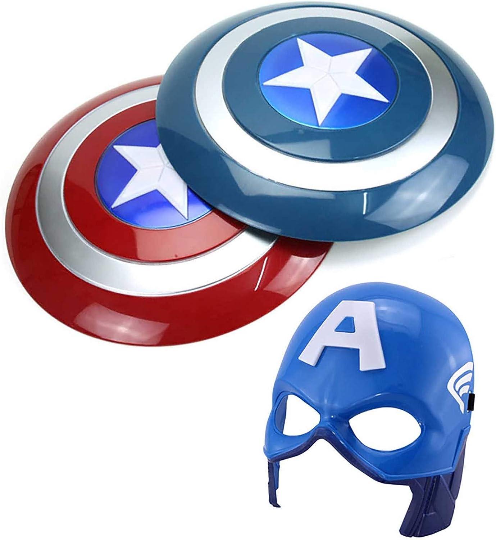 1 PVC Plastique Captain America Shield A Masque Marvel Avengers 1 sookin Captain America Shield Rougeoyant en Plastique Son Et Lumi/èRe Bouclier Avengers Cosplay Halloween Accessories