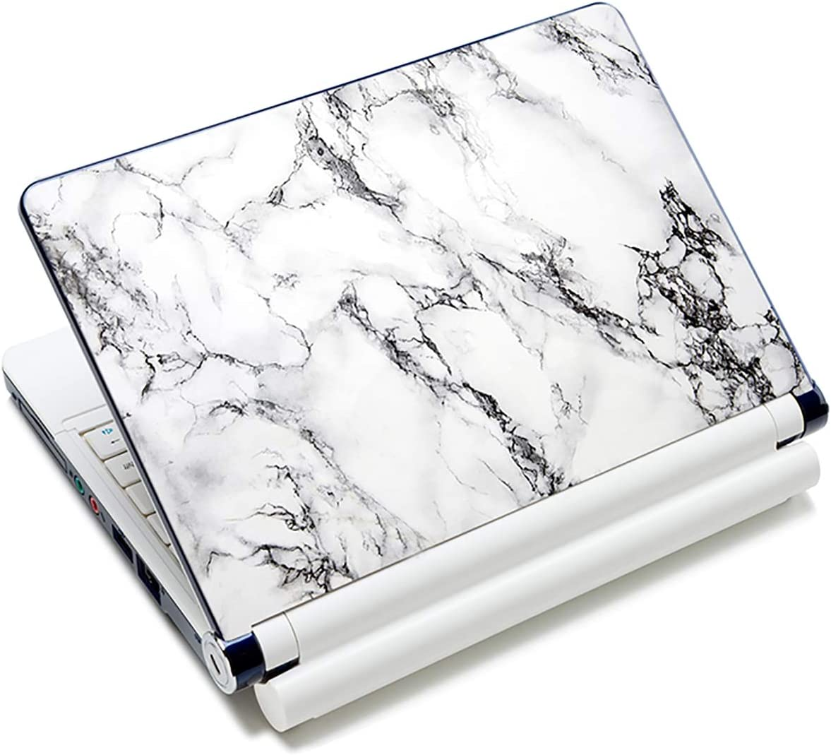 """Laptop Skin Vinyl Sticker Decal, 12"""" 13"""" 13.3"""" 14"""" 15"""" 15.4"""" 15.6 inch Laptop Skin Sticker Cover Art Decal Protector Fits HP Dell Lenovo Compaq Apple Asus Acer (White Marble)"""