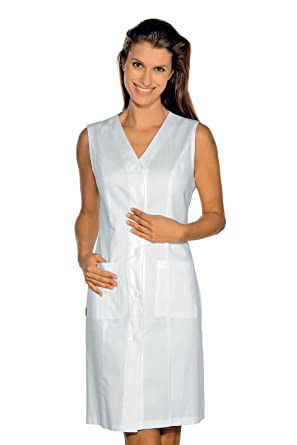 Isacco-Bata, sin Mangas Taormina 100% algodón Blanco Small