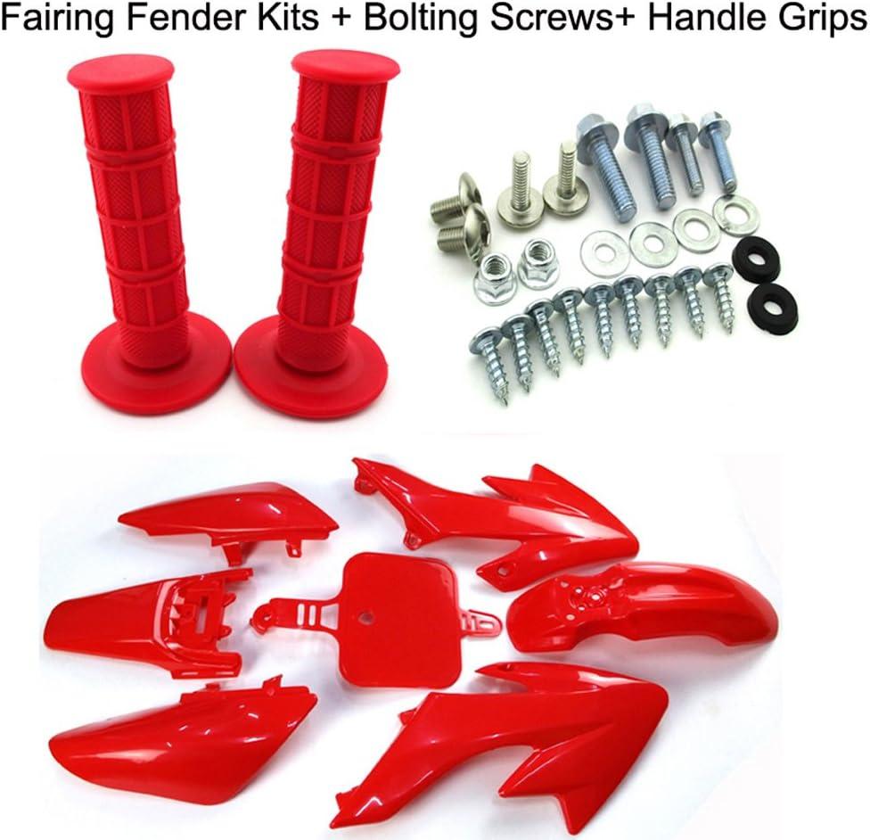 Throttle Handle Grips For Honda CRF50 XR50 Pit Dirt Bike Plastic Fairing Tank Mount Screw Panel Bolts Kits TC-Motor Red Body Work Fender Plastic Fairing Kit