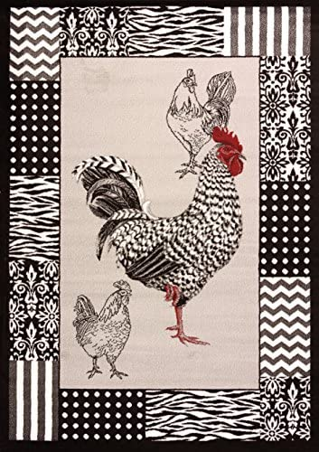 United Weavers of America Cristall Collection Black and White Rooster Indoor Rug – 7ft. 10in. x 10ft. 6in., Grey, Synthetic Rug with Olefin Construction