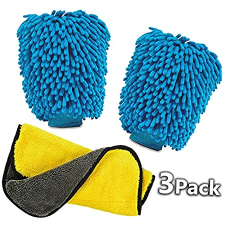 Aeroway Extra Large Size Chenille Microfiber Premium Scratch-Free Car Wash Mitt - Double Sided, 2 pack Car Wash Mitts(Blue) and 1 pack Premium Towel