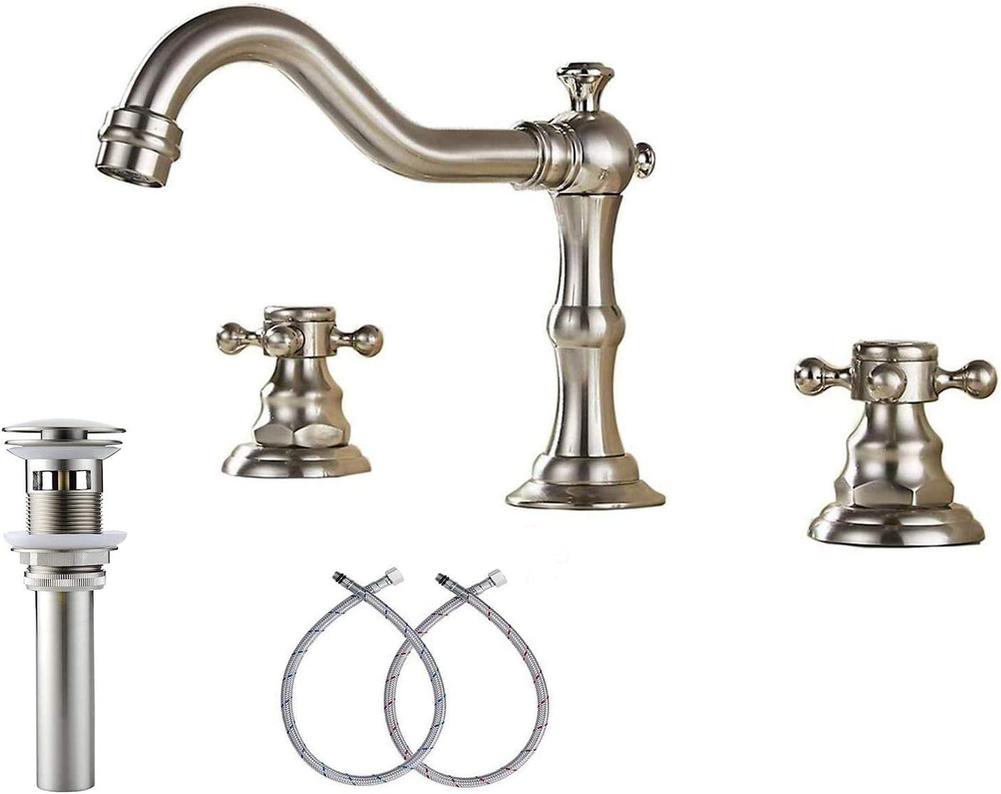 Antique Brass Two Handles Three Holes Faucet 8-16 inch Widespread Bathroom Sink
