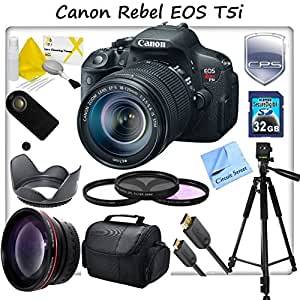 Canon Rebel EOS T5i Digital SLR Camera, With Canon 18-135mm f/3.5-5.6 EF-S IS STM, 2.2x Telephoto Lens, 3 Piece Multi-Coated Filter Kit (UV-CPL-FLD), Premium Quality Camera Case, Wireless Remote, 32GB SD Memory Card, Mini HDMi Cable, Full Size Tripod, Camera Lens Hood, Lens Cleaning Kit and CS Microfiber Cloth + 3 Year Accidental Damage Warranty Coverage.