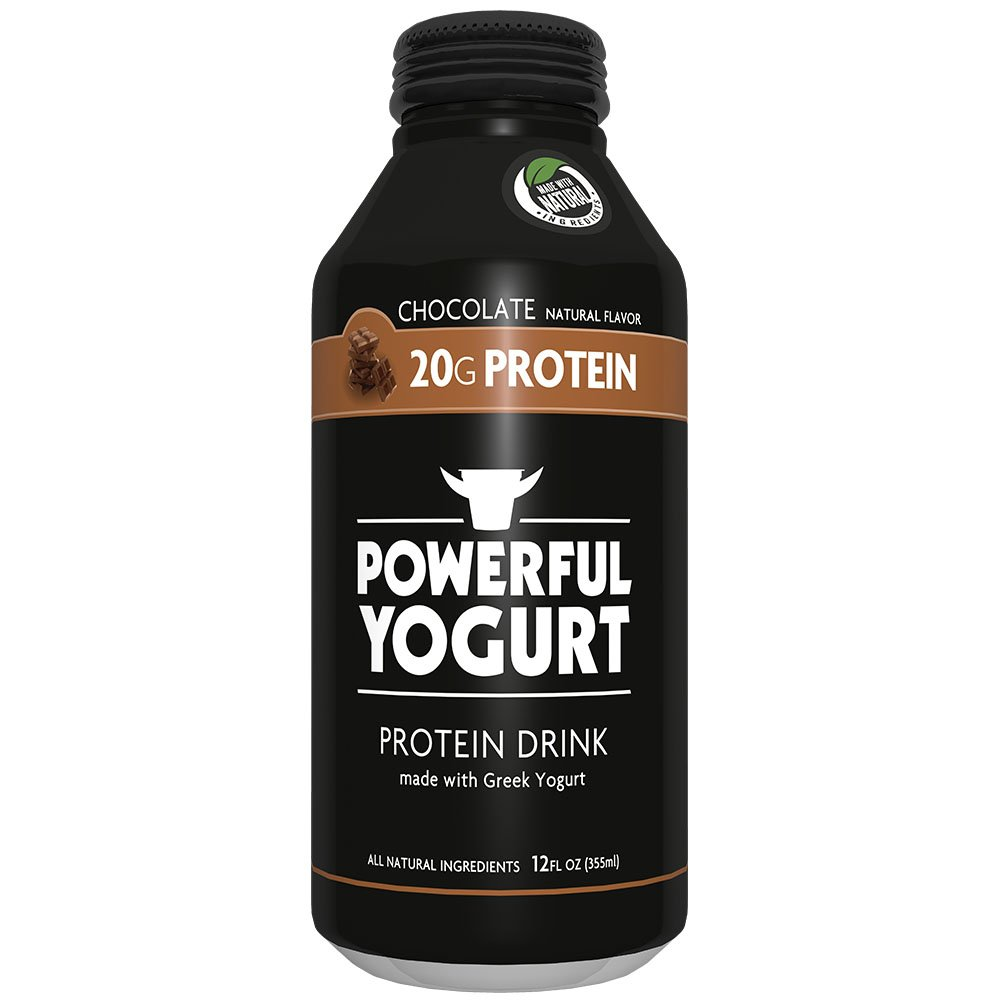 Powerful High Protein, Meal Replacement, Greek Yogurt Drink, Gluten-Free, Natural Ingredients, Kosher, 20g Protein, Chocolate (12 count) by Powerful Foods