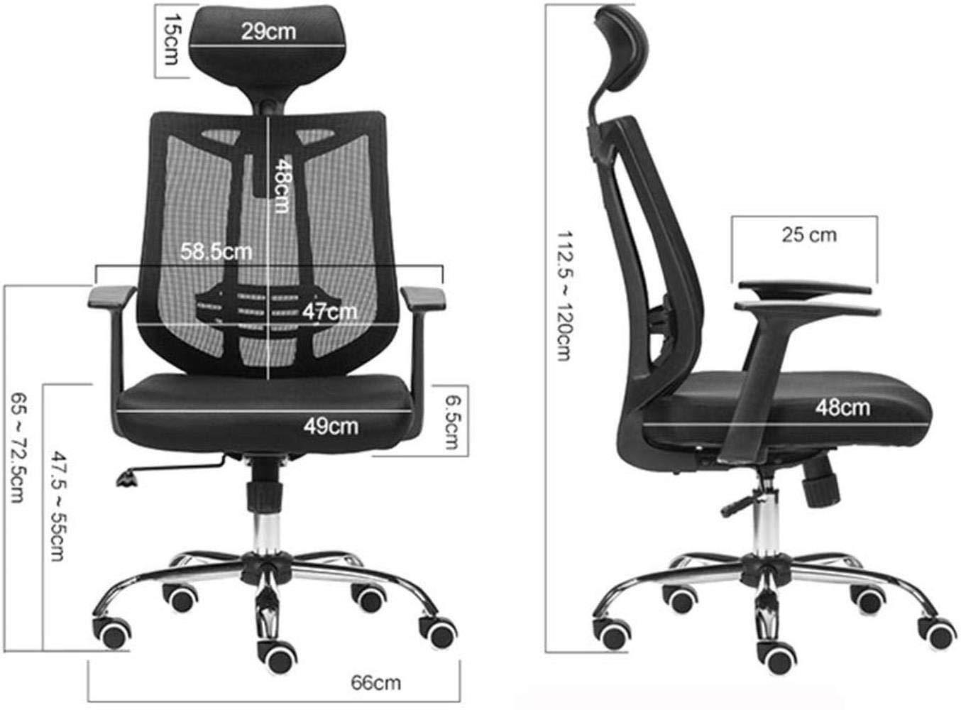 THBEIBEI Swivel kontorsstol spelstol datorstol hem arbetsrum kontorsstol hög rygg andningsbar nät justerbart nackstöd lounge stol bärande vikt 150 kg (färg: grå) Svart
