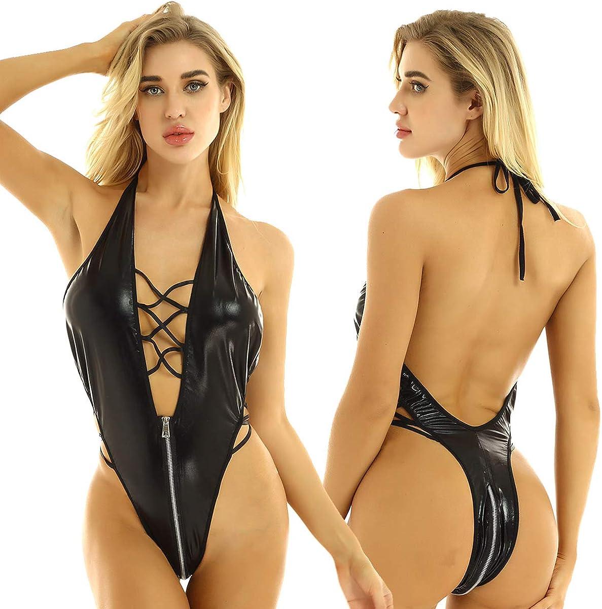 CHICTRY Womens Wet Look Long Sleeves Zipped Bodysuit Faux Leather Party Dress Lingerie Clubwear