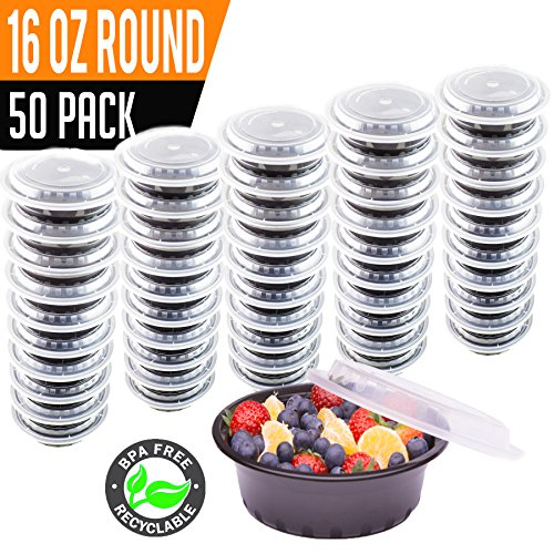 16 Ounce Sack (50 Pack- Chefible 16 oz Round Small MINI Food Storage Container, Bento, Meal Prep, Durable, BPA-free, Reusable, Washable, Microwavable, Perfect for Portion Control!)