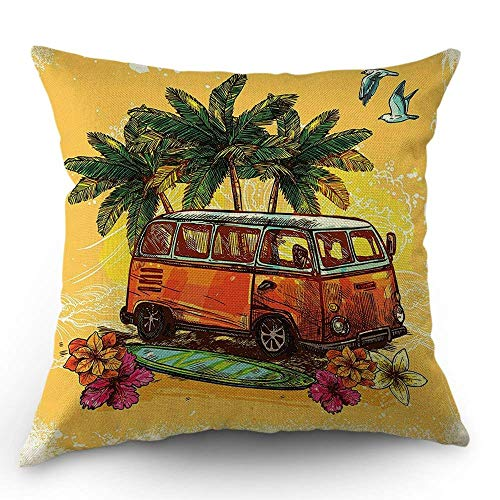 FJPT Throw Pillow Cover Tropical Island Sunset Yellow World Seagull Hawaii Style Flower Coconut Tree Travel Bus Surf Board Cotton Pillowslip for Sofa Bed Square Stand Size Pillowcase 18x18 Inch