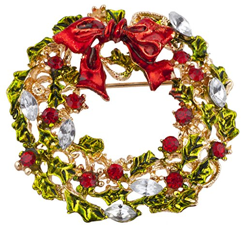 (Lux Accessories Gold Tone Green Red Crystal Wreath Christmas XmasHolidayBrooch)
