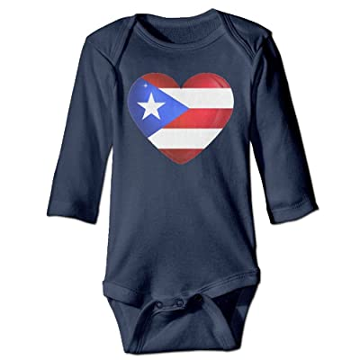 4f2406de515f ScotchBlue Puerto Rico Large Heart Flag Autumn Long Sleeve Newborn Baby  Boys Girls Climb Romper