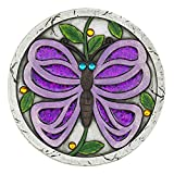 colorful WELCOME purple butterfly garden path lawn yard cement stepping stone Review