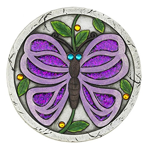 - colorful WELCOME purple butterfly garden path lawn yard cement stepping stone