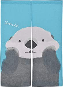 Xcellent Global Hanging Japanese Noren Curtain Panel Smile Otter Custom Made Curtain Doorway Panel Room Dividers for Partition Home Restaurant 33.5 X 47.2 Inch