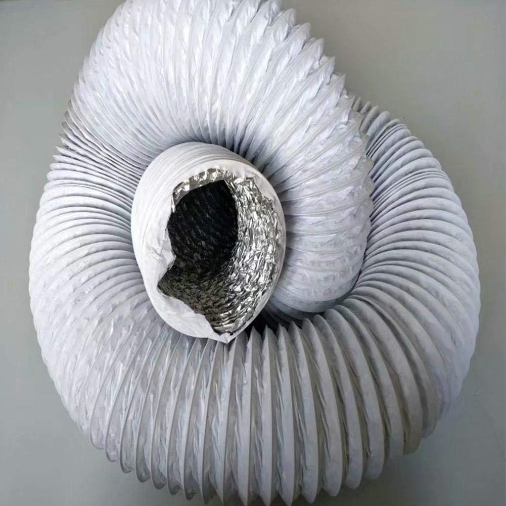 Salle de Bain 2m Ventilation Domestique KEIBODETRD Tuyau Flexible en Aluminium pour climatisation Tube d/échappement t/élescopique 150 mm de diam/ètre pour Cuisine Blanc