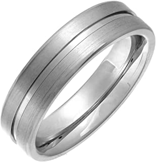 Theia Titanium Flat Court Matt Grooved 6mm Ring
