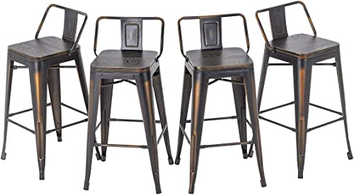 HAOBO Home 30″ Low Back Distressed Golden Bar Stools Industrial Metal Barstools Counter Height Stools Dining Chair