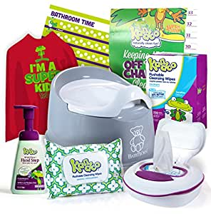 Potty Training Starter Kit- Baby Bjorn Smart Potty, Kandoo Flushable Wipes (Total of 342 Wipes)- Refillable Tub, 6 Refill Packs (300 Wipes), Travel Pack (42 Wipes), Potty Training Chart.