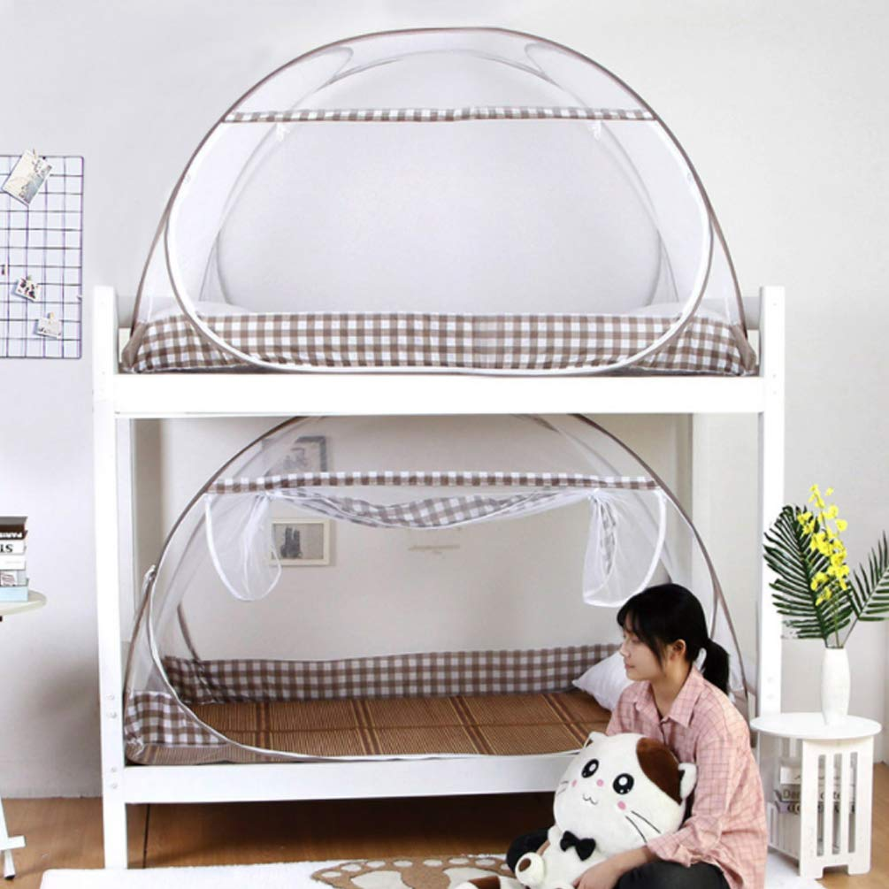 Brown 0.91.0mDormitory Mosquito Net Bed Canopy Yurt Nets for Students Mosquito Nets Tent Foldable Double Door Double Bed Student Repellant Insect Pop Up,Black,0.9  1.0m
