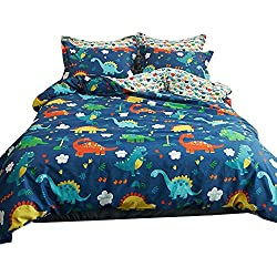 ORoa Cute Cartoon Dinosaur Twin Bedding Set for Kids Students 100% Cotton 3 Pieces Reversible Dinosaurs Park Pattern Duvet Cover Boys Girls Twin Size Red Blue Yellow Green Colorful