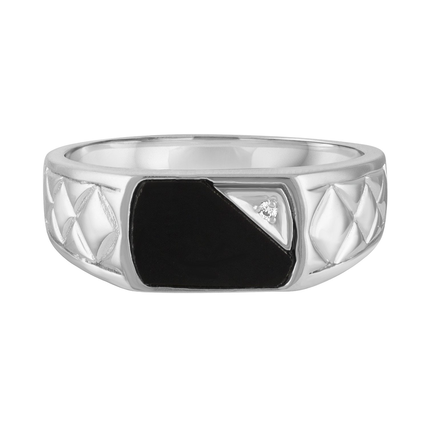 Esty /& Me Mens Black Onyx Ring in Sterling Silver