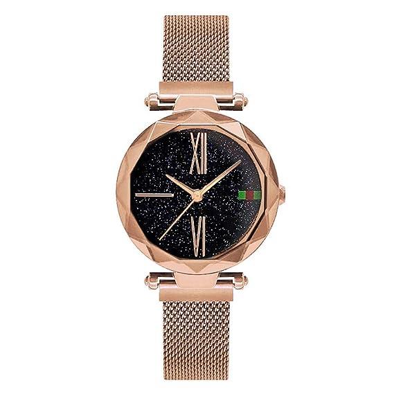 ZXMBIAO Reloj De Pulsera Starry Sky Mujer Relojes Imán Hebilla Elegante Casual Reloj De Pulsera De Cuarzo Único Reloj De Señora Girls Reloj, Oro Rosa: ...