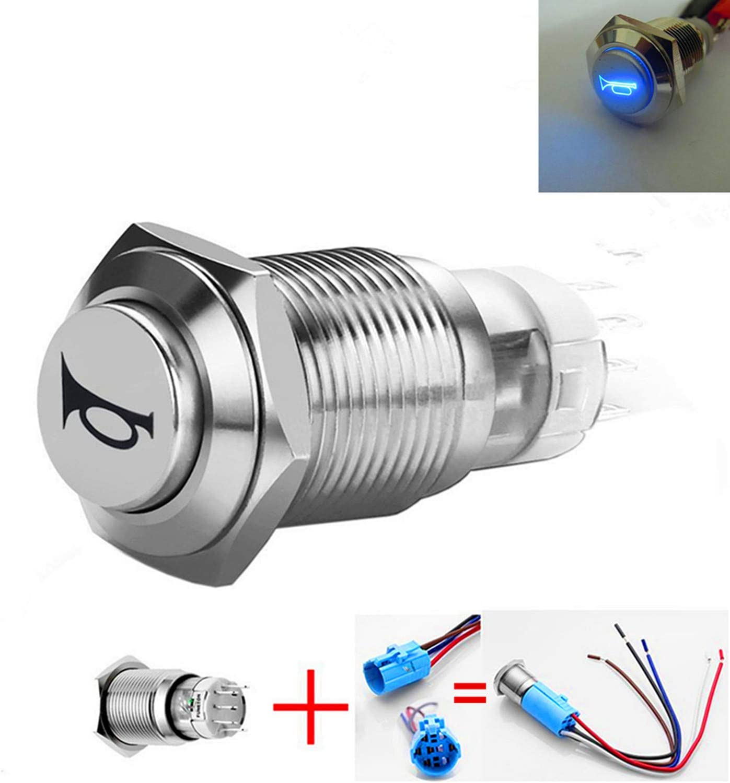 ESUPPORT 12V Car Vehicle Green LED Light Momentary Speaker Horn Push Button Metal Switch 16mm