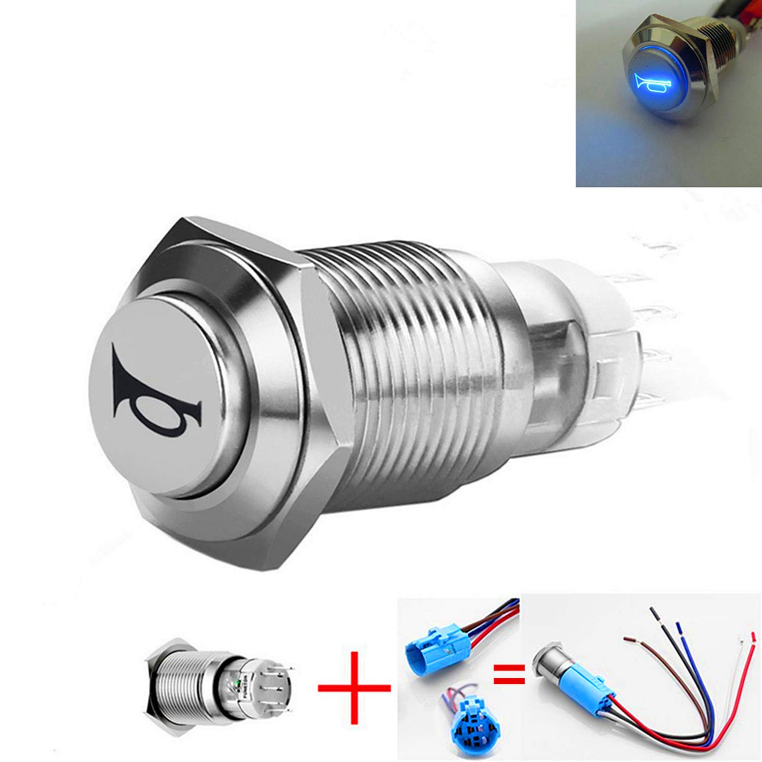 Twidec//16mm Raised Top Momentary Push Button Switch 1NO 1NC SPDT Mounting Hole Black Waterproof Stainless Steel Shell with 12V Led Red Ring Pre-wiring Wires for car Modification Switch GM16O-BK-R