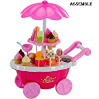 Assemble Kids Choice Kid's Plastic Ice Cream and Sweet Marketing Cart with Music Role Pretend Play Toy