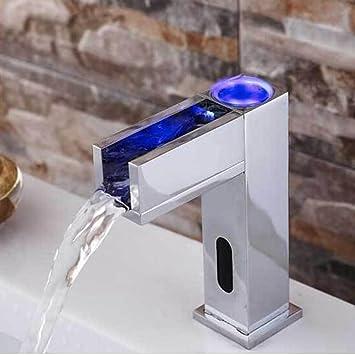 jfuia automatique infrarouge LED 3 Changement de couleur LED robinet  cascade mitigeur de lavabo robinet salle de bains de robinet de lavabo ...