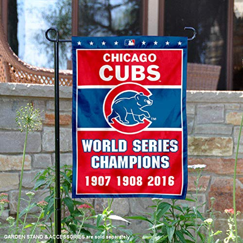 Chicago Cubs Yard - WinCraft Chicago Cubs 3-Time World Series Champions Double Sided Garden Flag